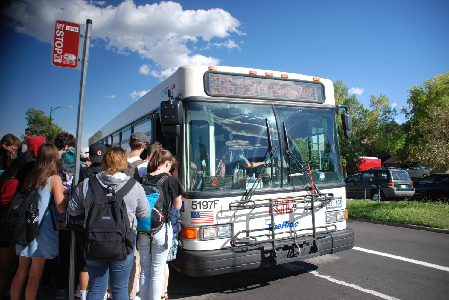Fairview Students wait for a bus.