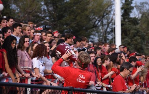 Students cheer for the Football team at the FHS vs BHS game.
