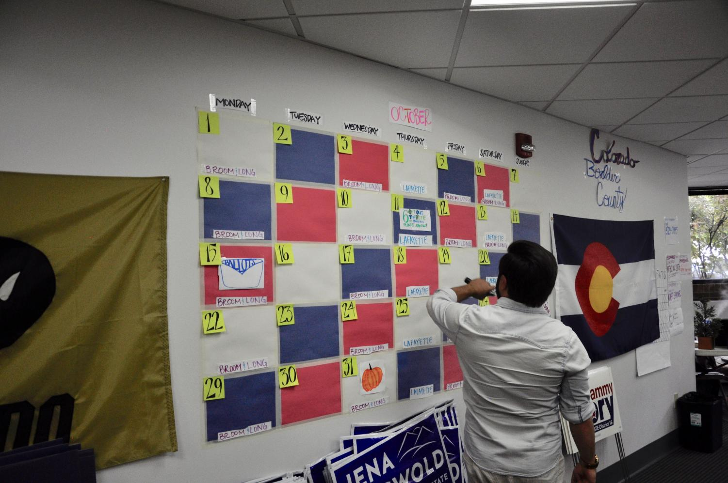 Staff at the Polis campaign office organize what needs to get done. Interns are given large amounts of responsibility by the staff.