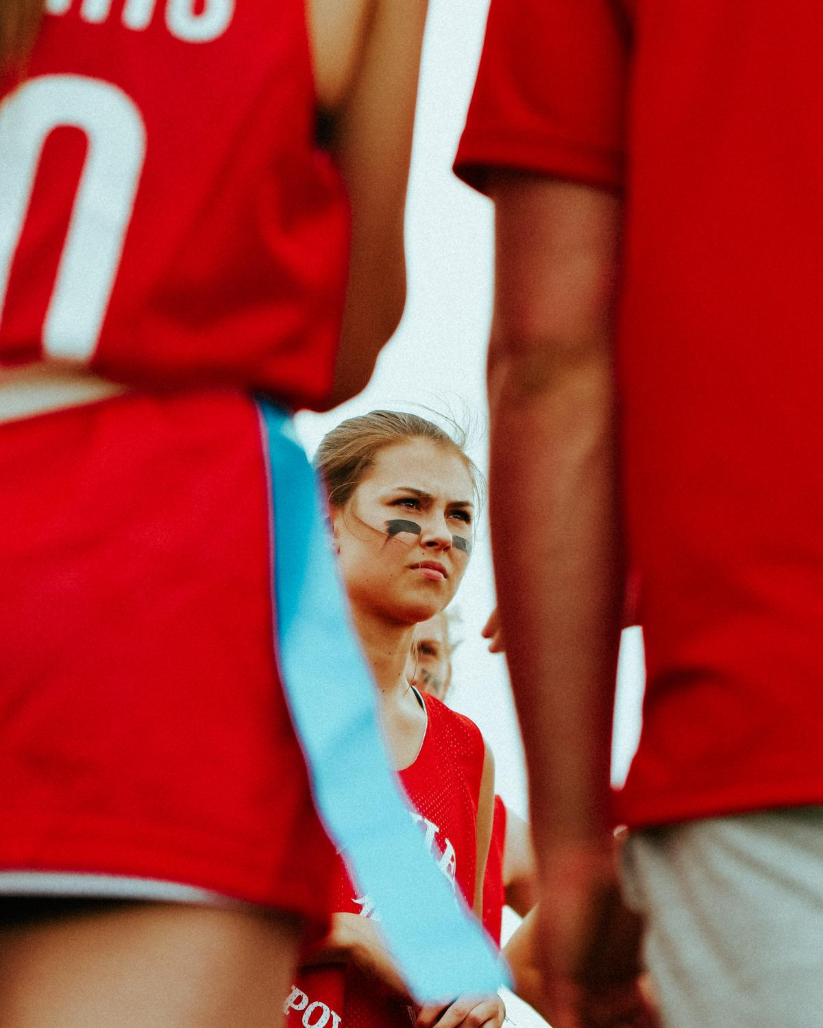 Junior+Morgan+Boyd+listens+to+coaches+during+halftime+of+powderpuff+game.+%22I+really+liked+the+team+bonding+this+year%2C%22+said+Boyd.+