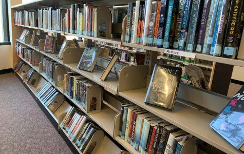 Shelf of library books.