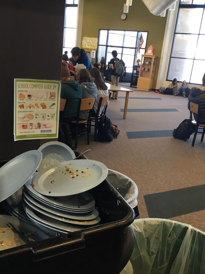 Students+eat+in+the+library+during+block+lunch.+Dishes+are+cluttered+nearby.