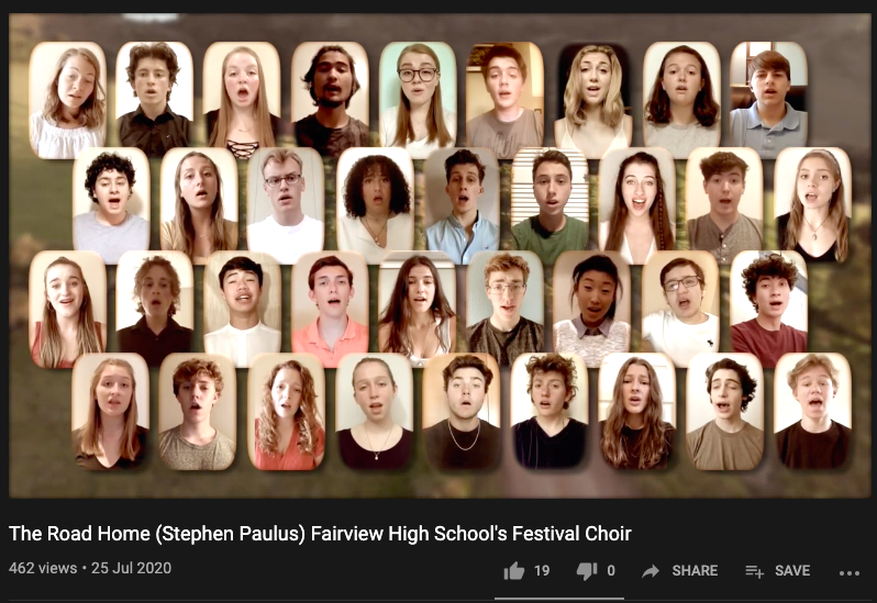 A screenshot of the opening number of the Choir's Spring Concert last year. This song was performed by the Festival Choir in isolation and uploaded onto YouTube.