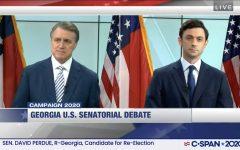 Screenshot of a senatorial debate between Ossoff and Perdue.
