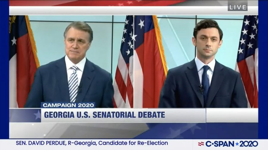 Screenshot of a senatorial debate between Ossoff and Perdue.
