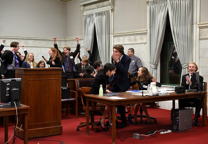 The+Mock+Trial+team+cheers+after+they+are+announced+the+winner+of+the+2018+Colorado+High+School+Mock+Trial+tournament.