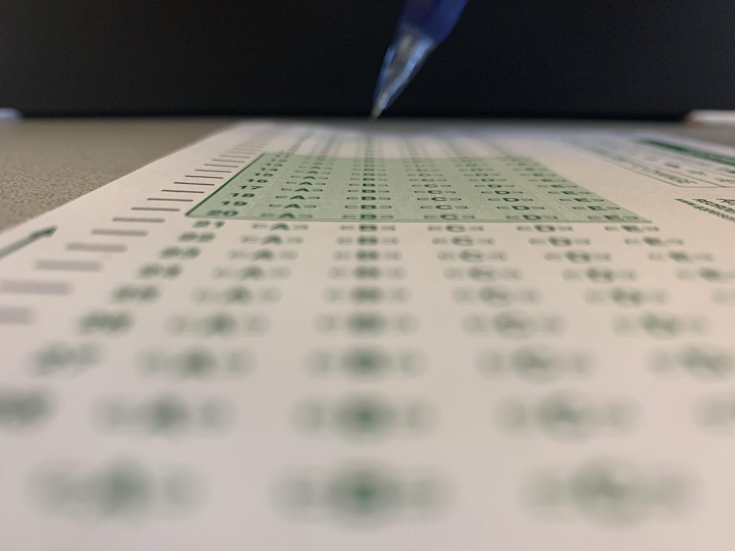 Pencil poised to take a test.
