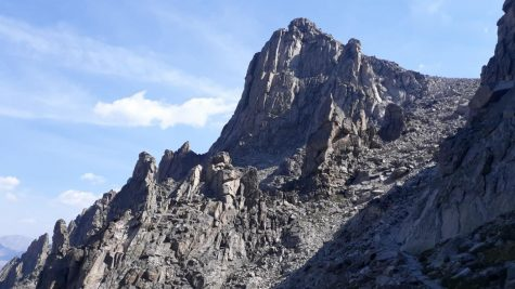 A Cliff on the West Side of Pawnee Pass (Trail on the bottom right).