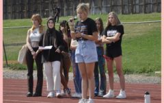 Annika Spilde (12) delivers closing remarks at the walkout on Friday, September 10th.